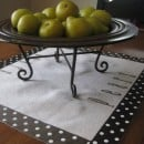 dropcloth table with pears