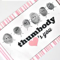 """Thumbody"" loves you:  thumbprint valentines"