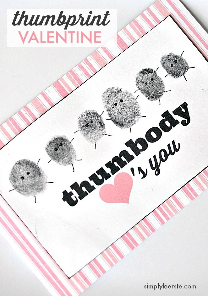 """Thumbody"" loves you:  thumbprint valentines"