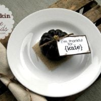 {mini pumpkin place cards}