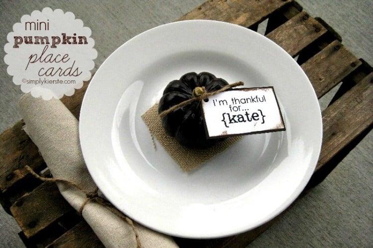 mini pumpkin place cards | oldsaltfarm.com