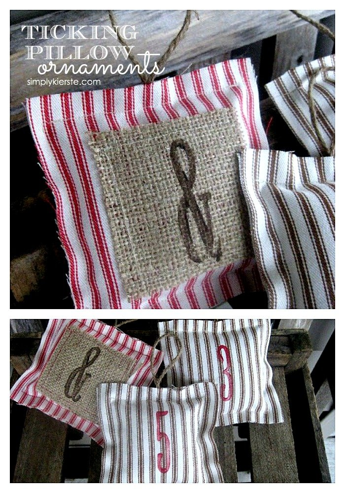 Ticking Pillow Ornaments | simplykierste.com