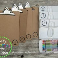 {clipboards + wipes cases = easy coloring kits for kids}