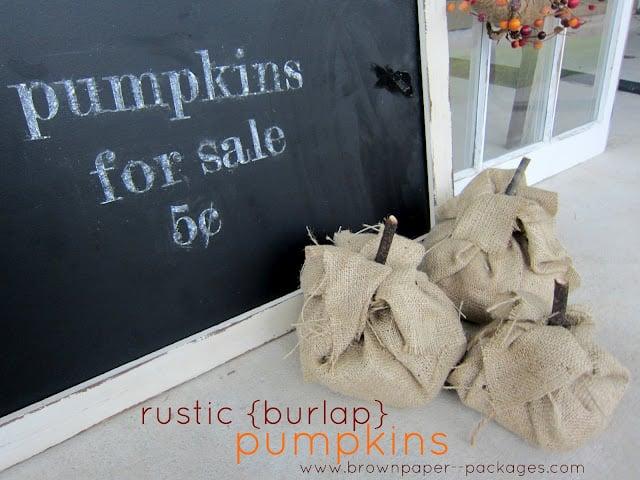{rustic burlap pumpkins}