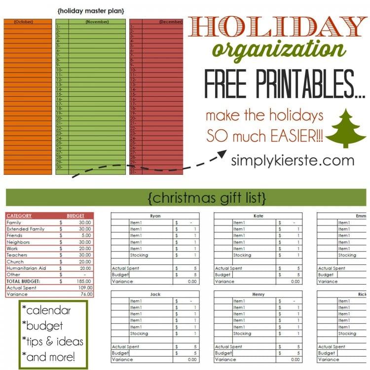 Holiday Organization Free Printables | oldsaltfarm.com