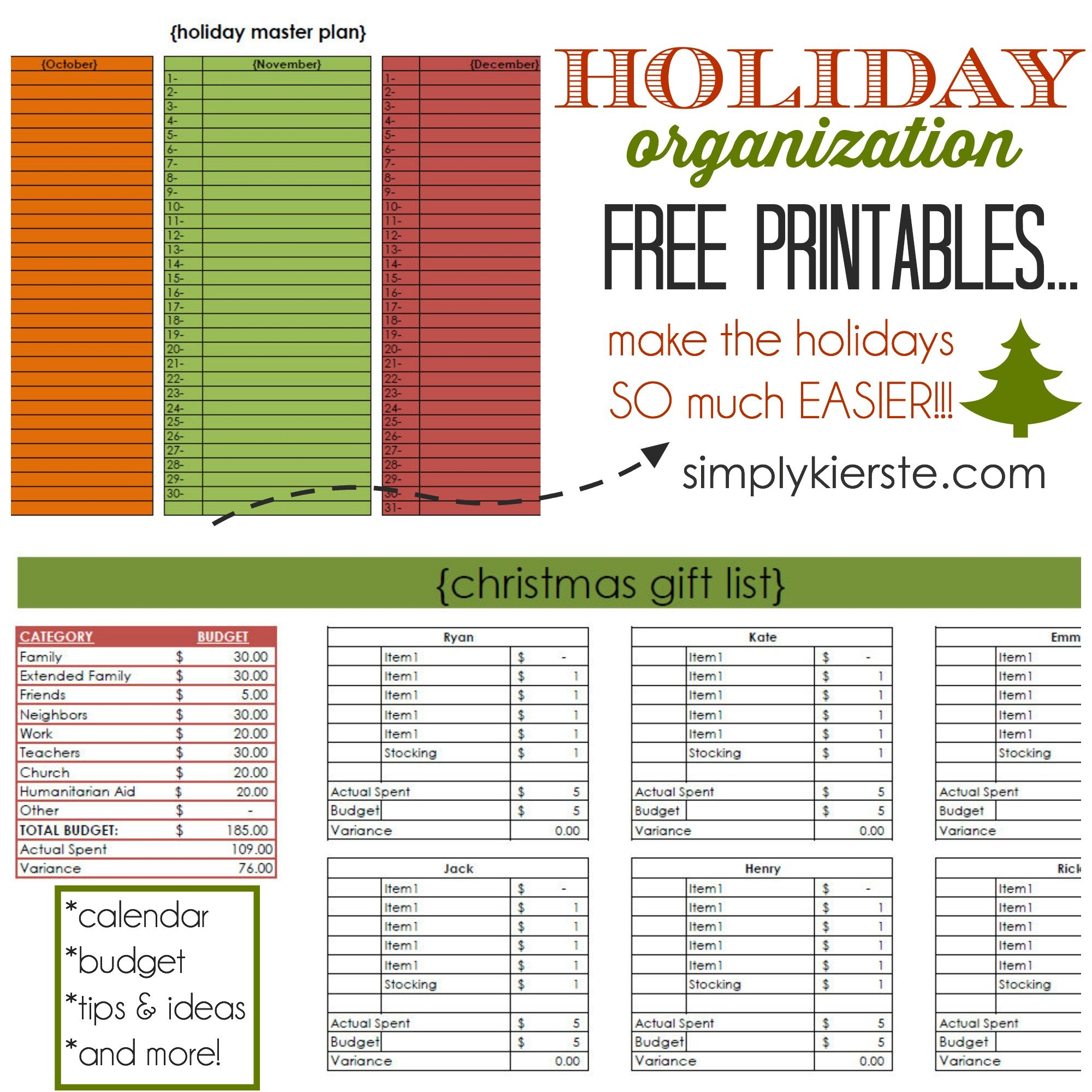 Holiday Organization Free Printables | simplykierste.com