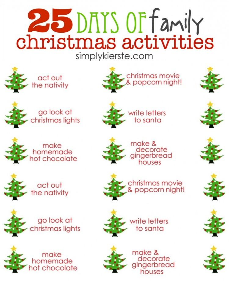 25 Days Of Family Christmas Activities Simplykierstecom