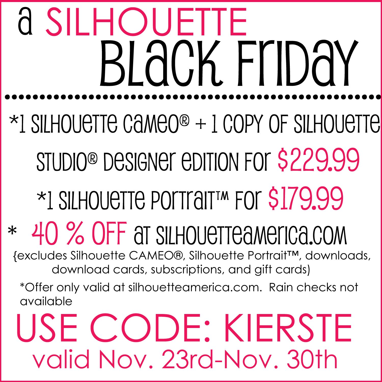 {black friday CRAZINESS with silhouette!}