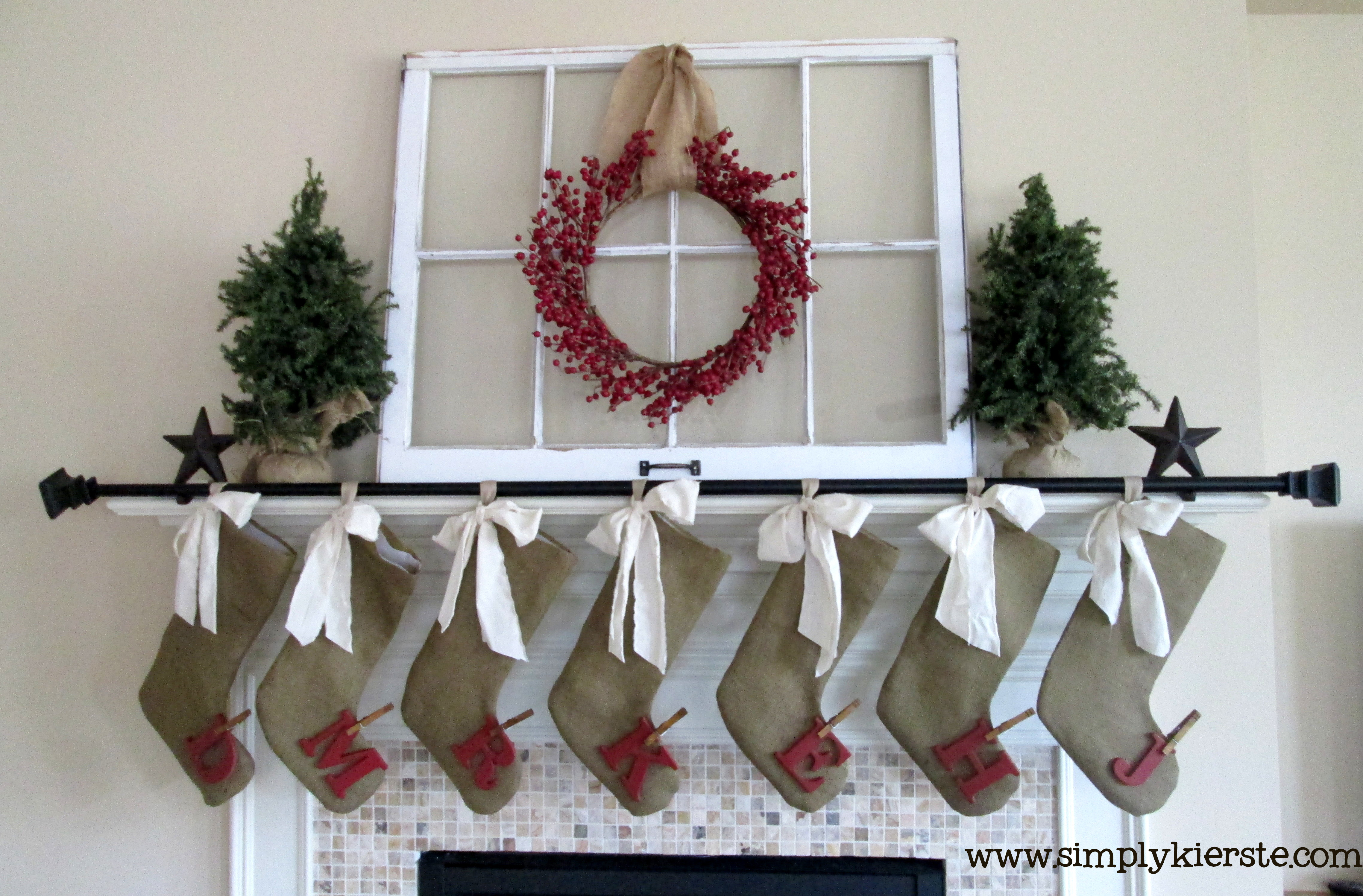 Diy burlap stockings with crap i 39 ve made simply for Burlap christmas curtains