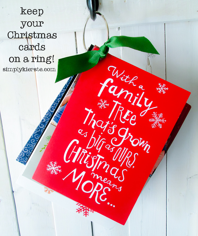 Keep your Christmas cards on a ring! | Easy Organization | simplykierste.com