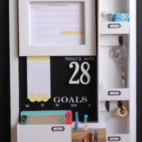 {DIY message center with chalkboard blue}
