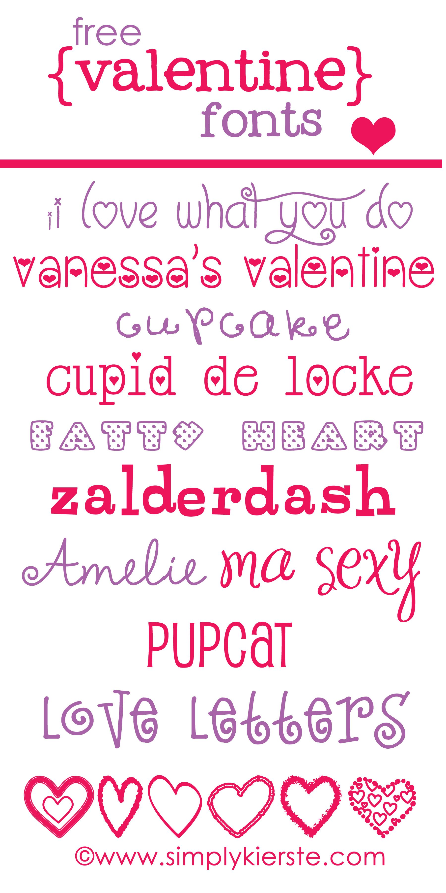 Favorite and Free Valentine Fonts