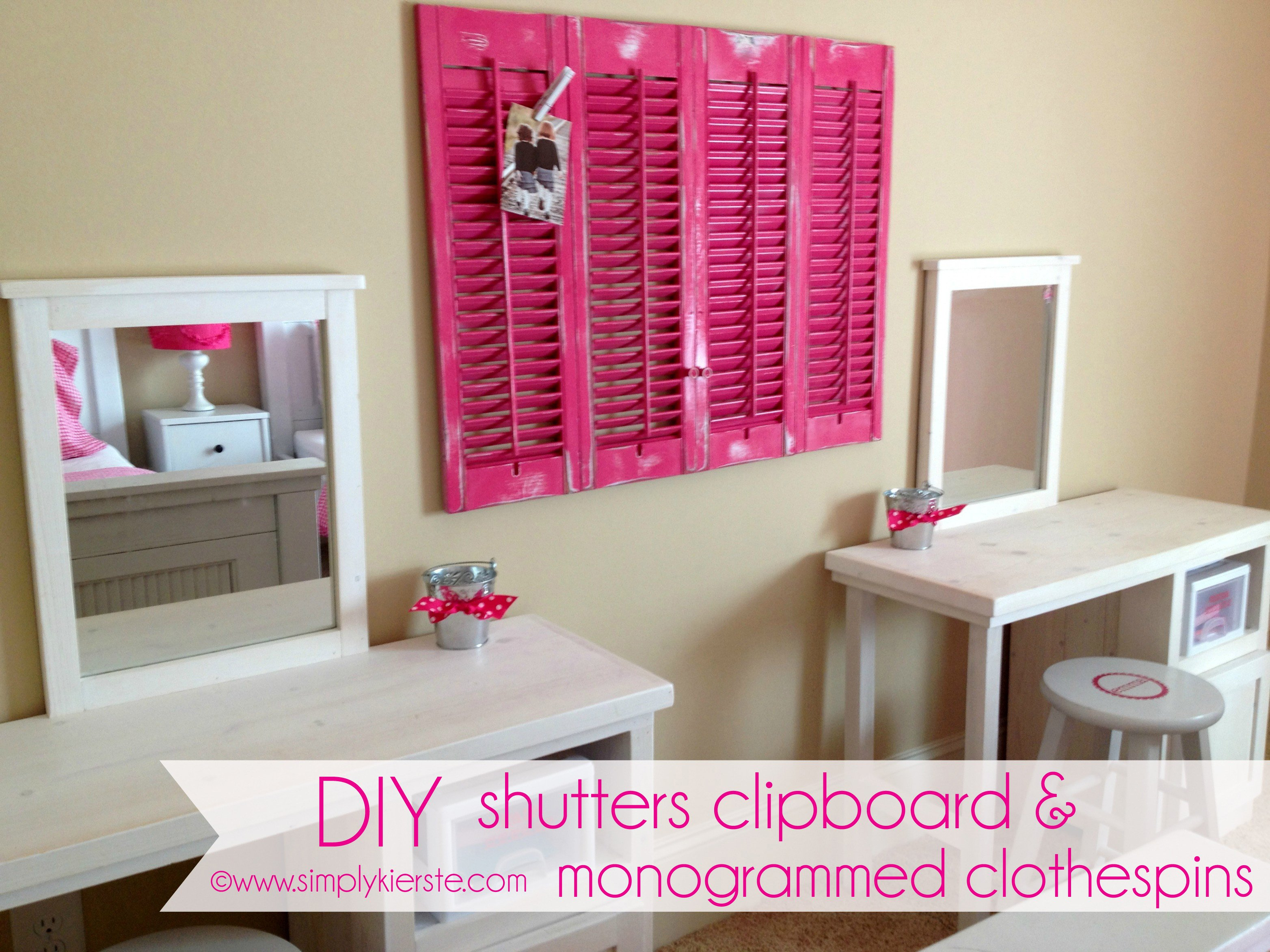 DIY Shutters Clipboard Monogrammed Clothespins