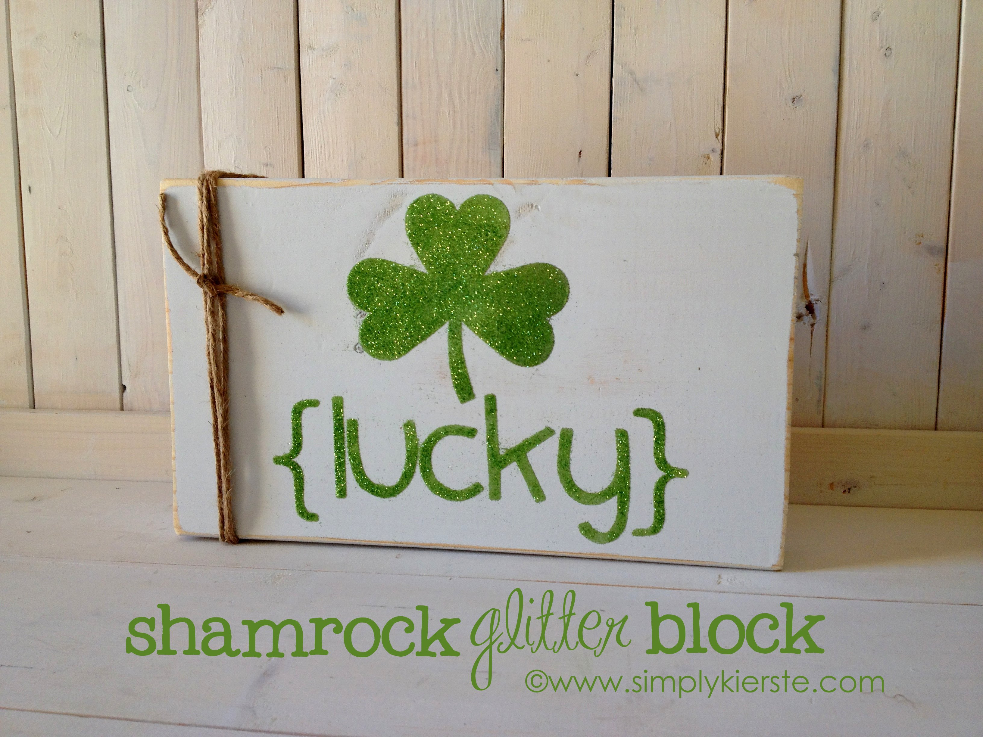 shamrock glitter block decor