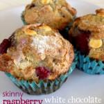 {skinny raspberry & white chocolate muffins}