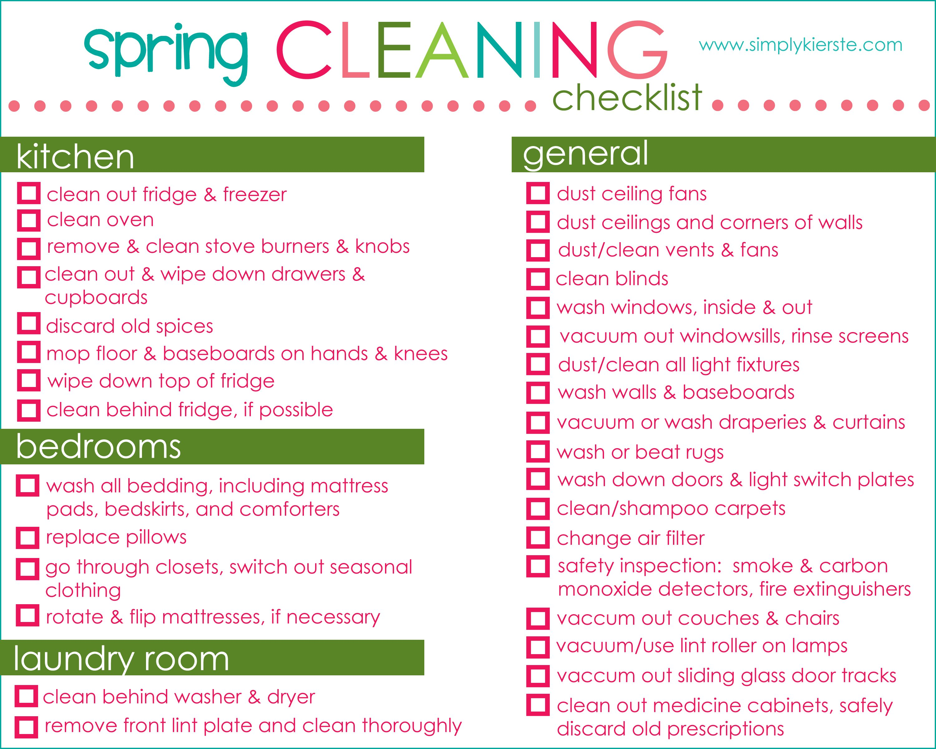 spring cleaning checklist tips free printable simplykierstecom