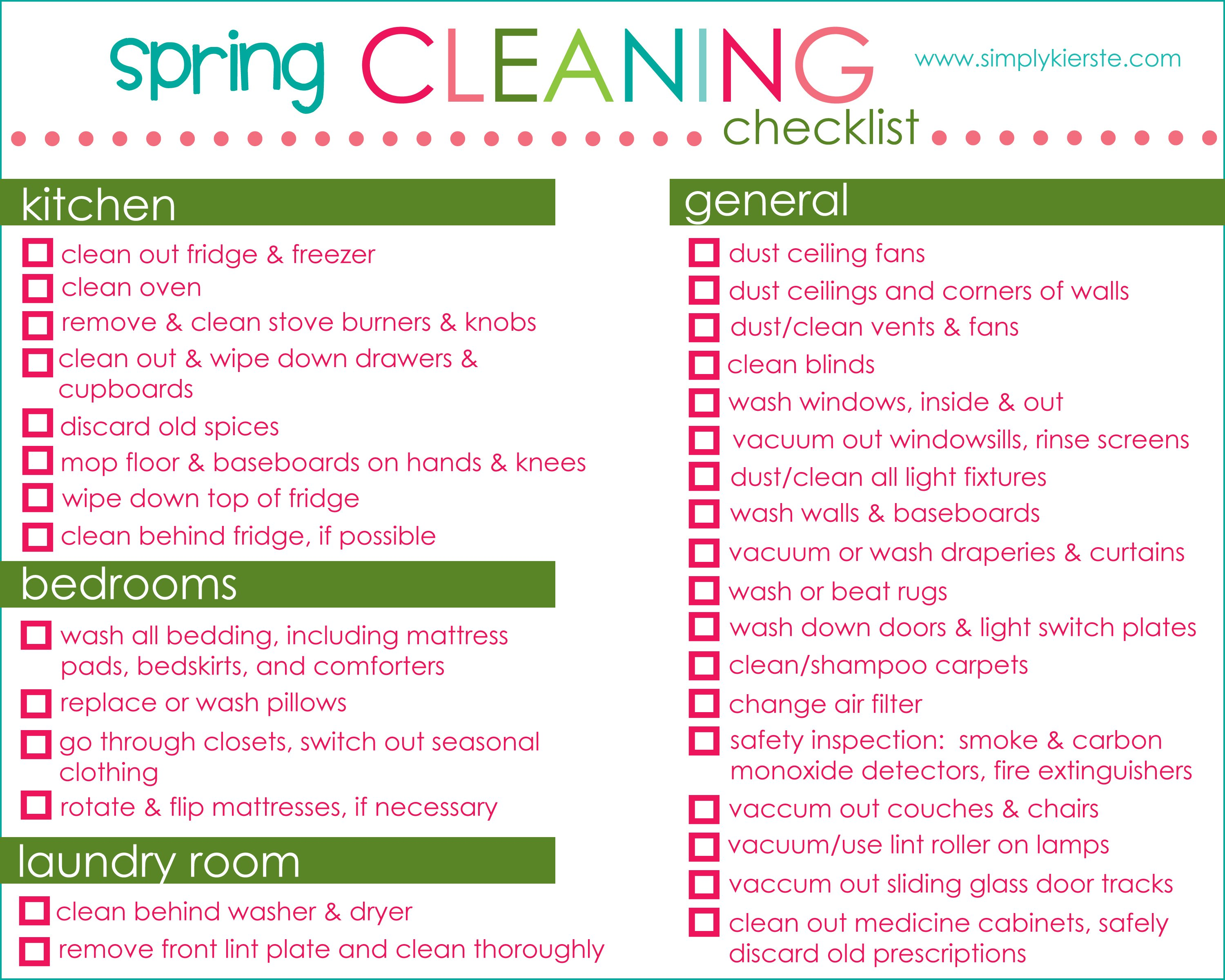 Spring Cleaning Checklist Tips Free Printable – Printable Office Supply List