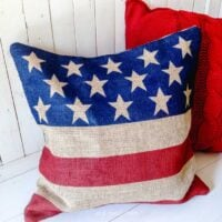 Burlap Flag Pillow