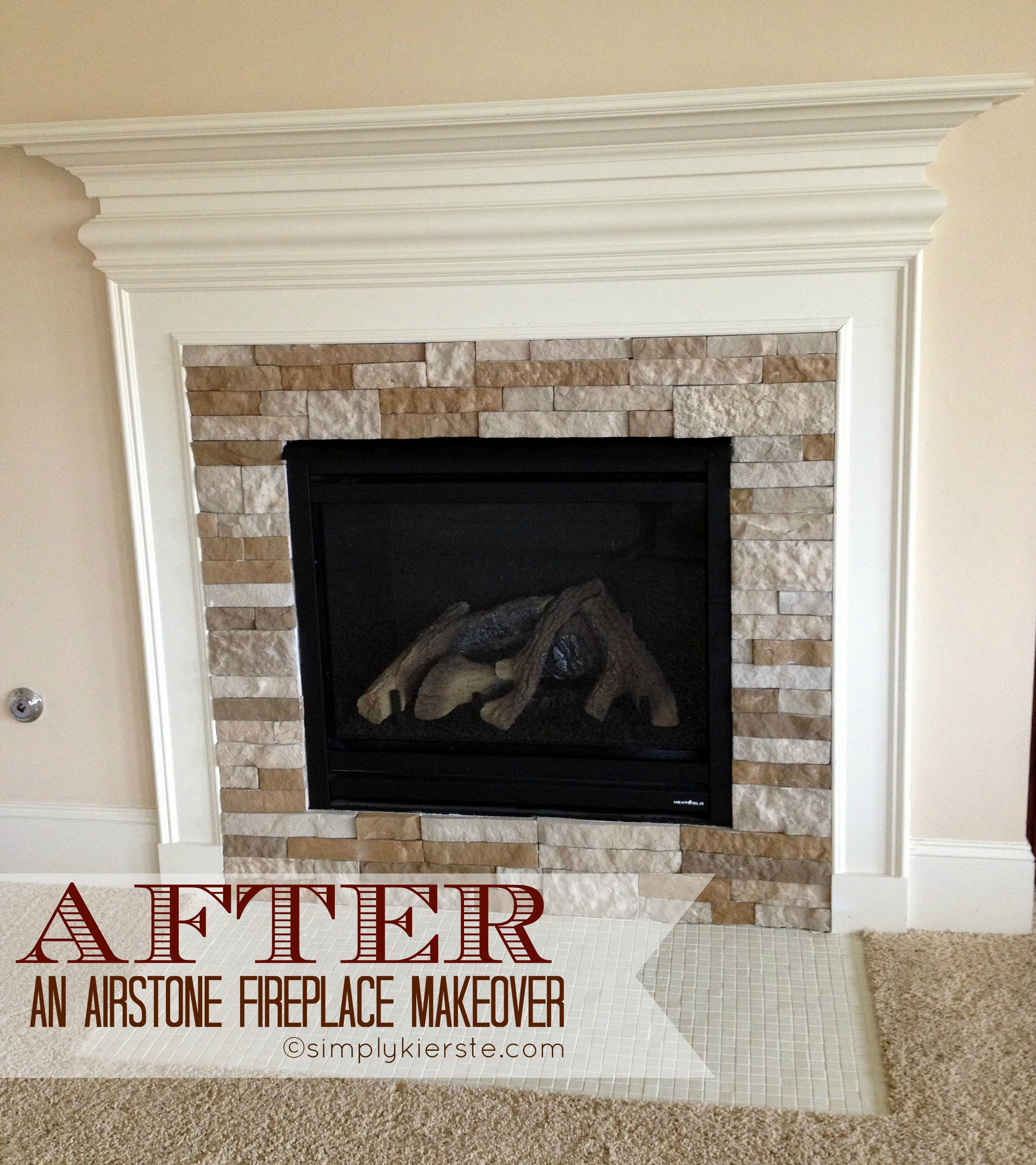 Cover brick fireplace with stone - Fireplace Airstone Makeover Simplykierste Com