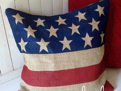 burlap flag pillow | simplykierste.com