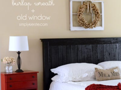 burlap wreath + old window | simplykierste.com