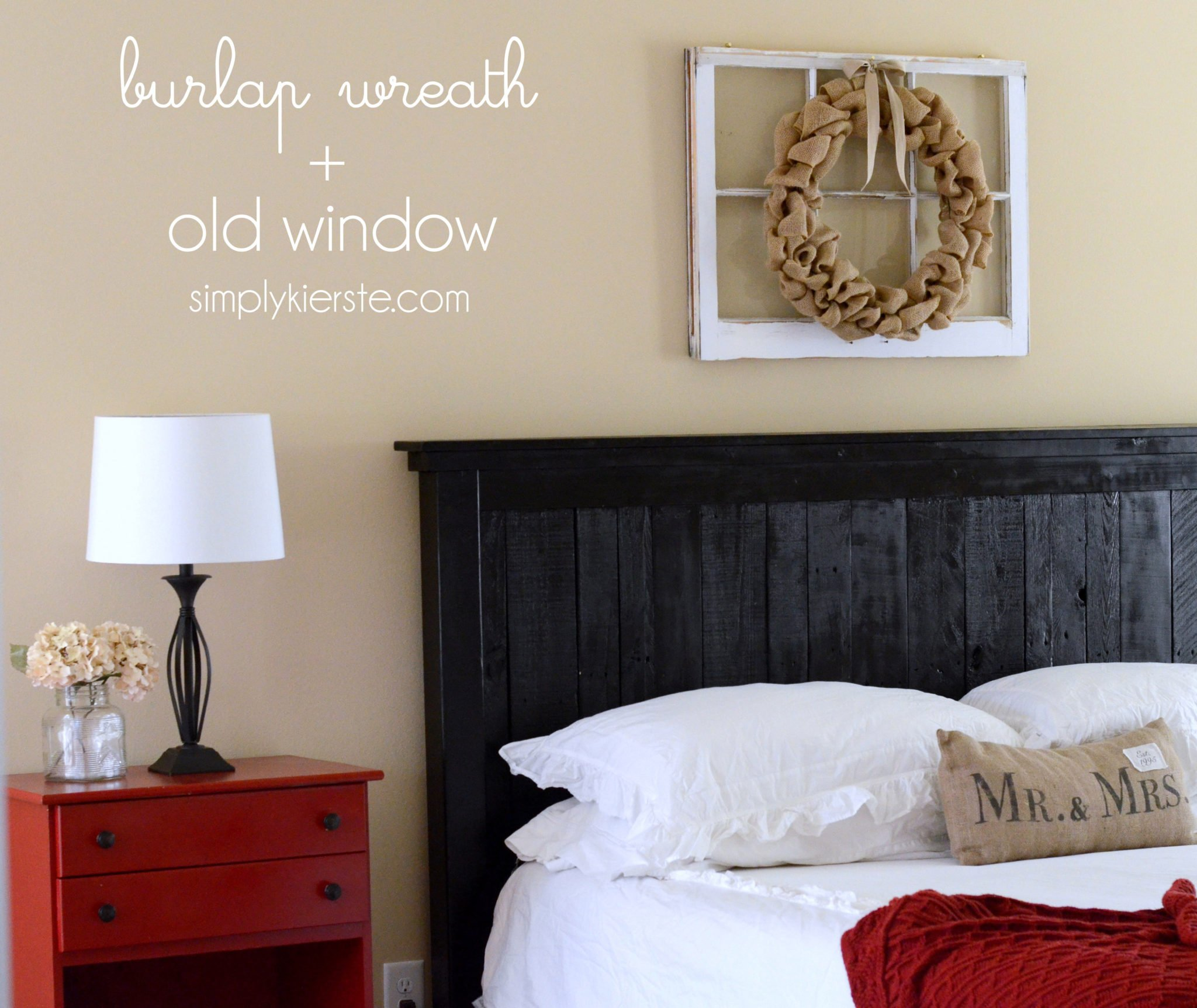 burlap wreath + old window | simplykierste.com
