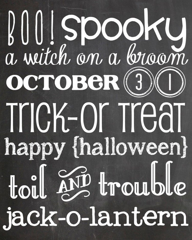 halloween chalkboard printable copy