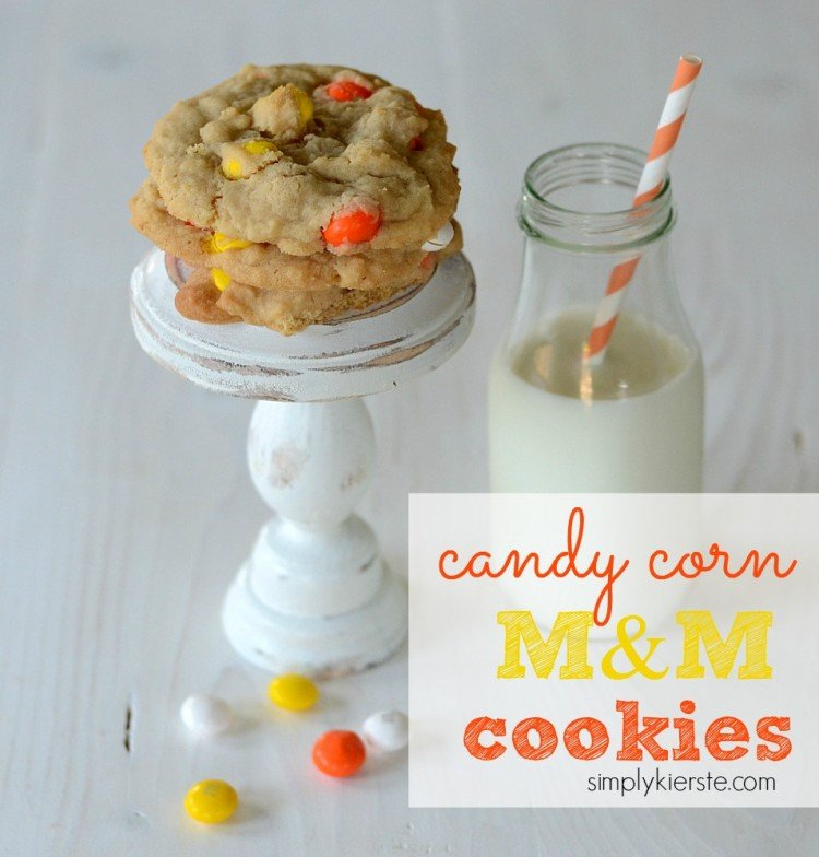 candy corn M&M cookies | simplykierste.com