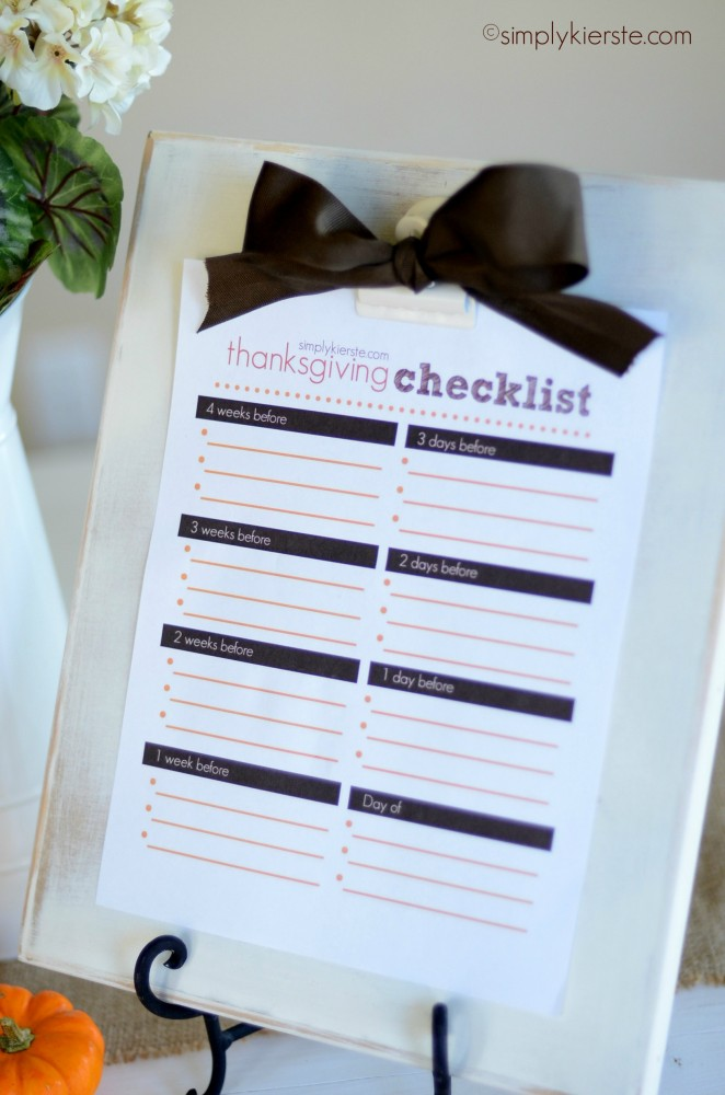 thanksgiving checklist | simplykierste.com
