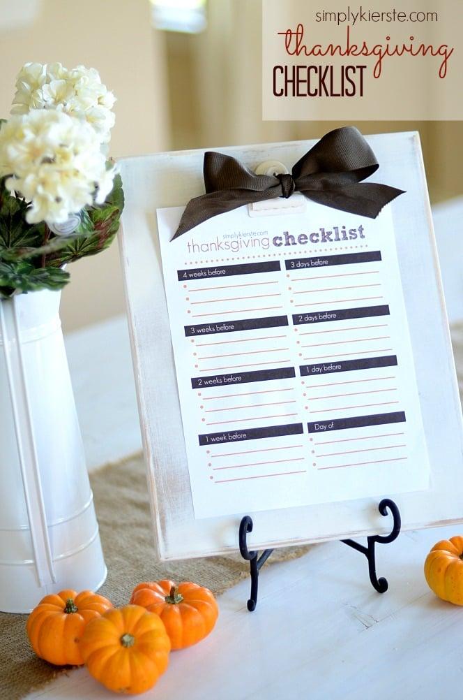 Printable Thanksgiving Checklist