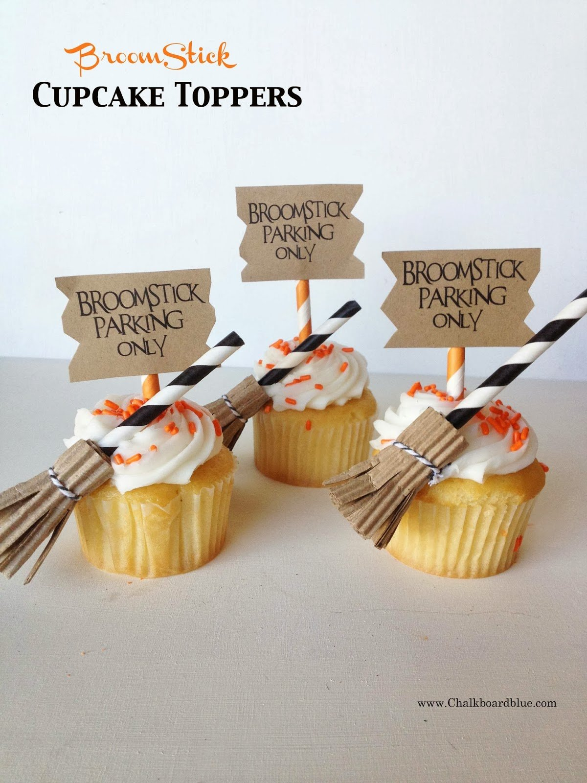 {broomstick cupcake toppers} with chalkboardblue