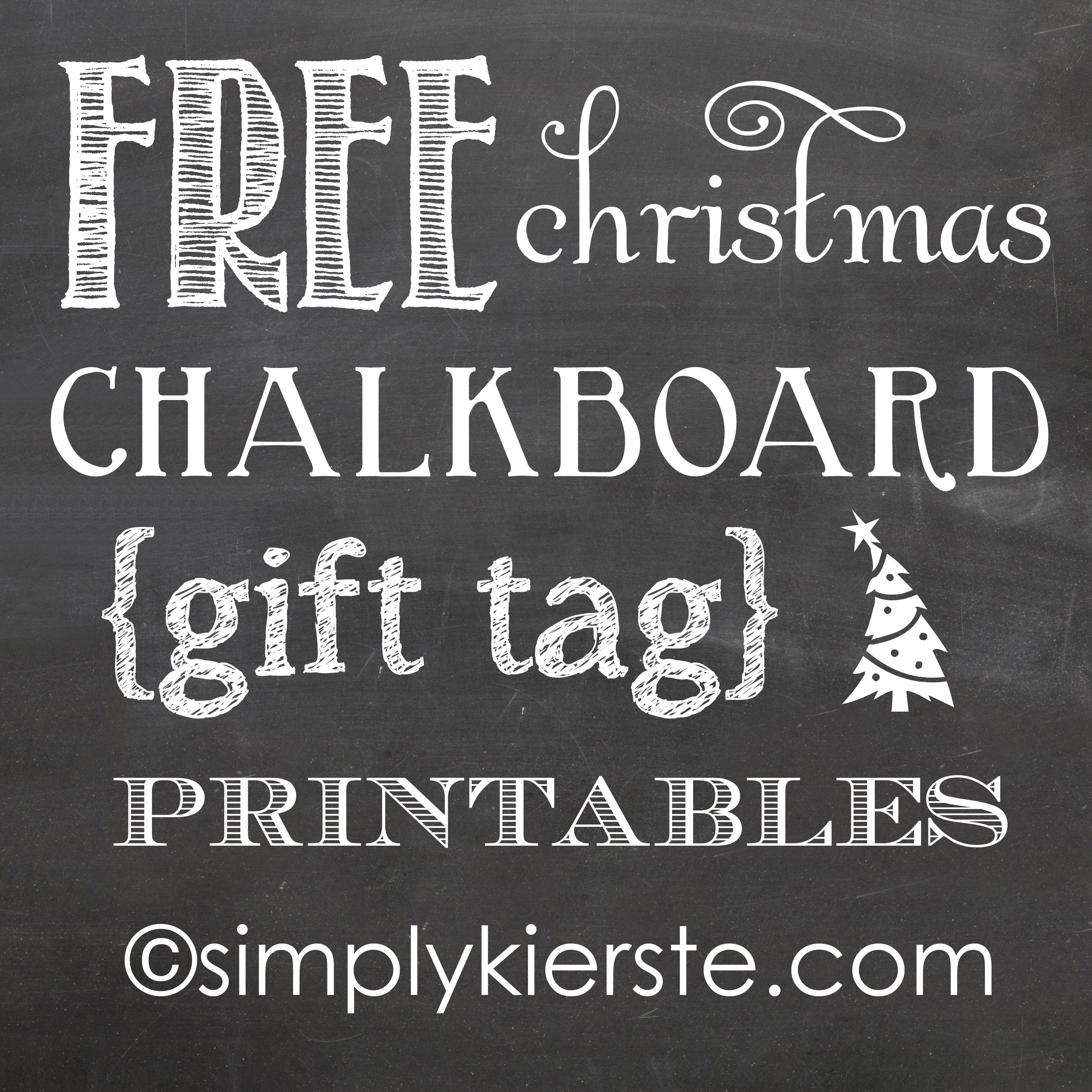 Christmas Chalkboard Gift Tag Printables