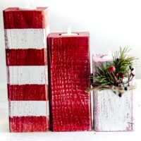 Peppermint Striped Christmas Candlesticks