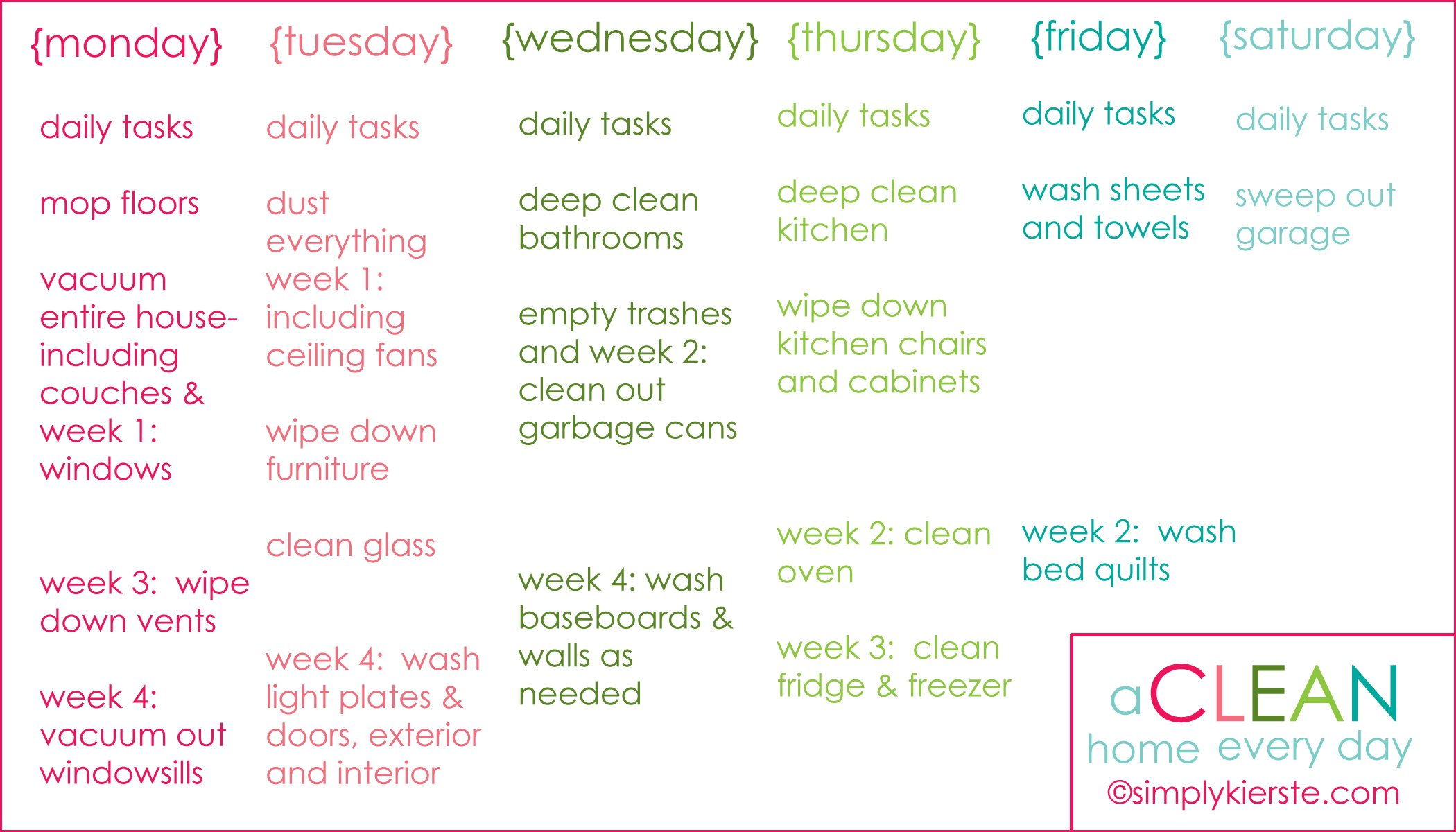 ... Printable How to have a clean home every day + free printable