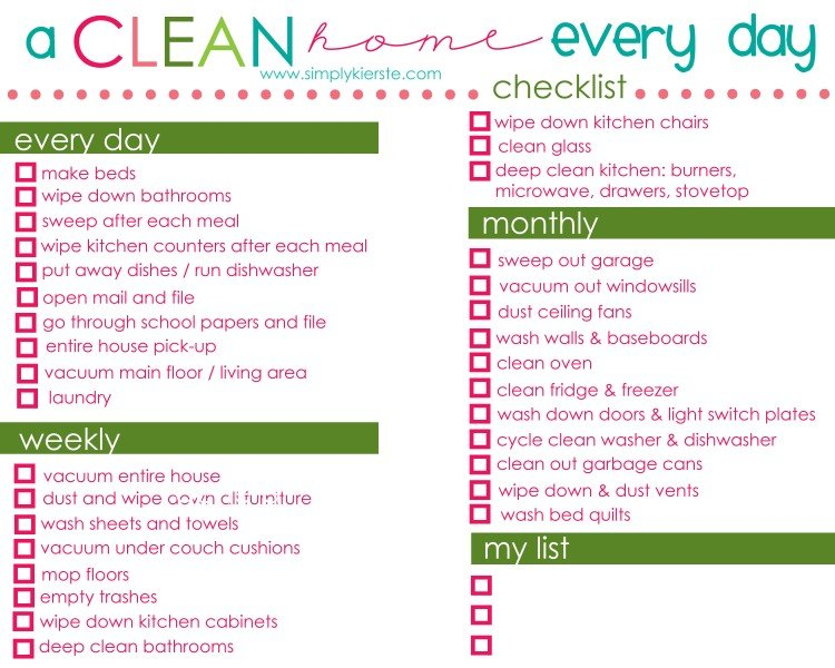 how to have a clean home every day free printable