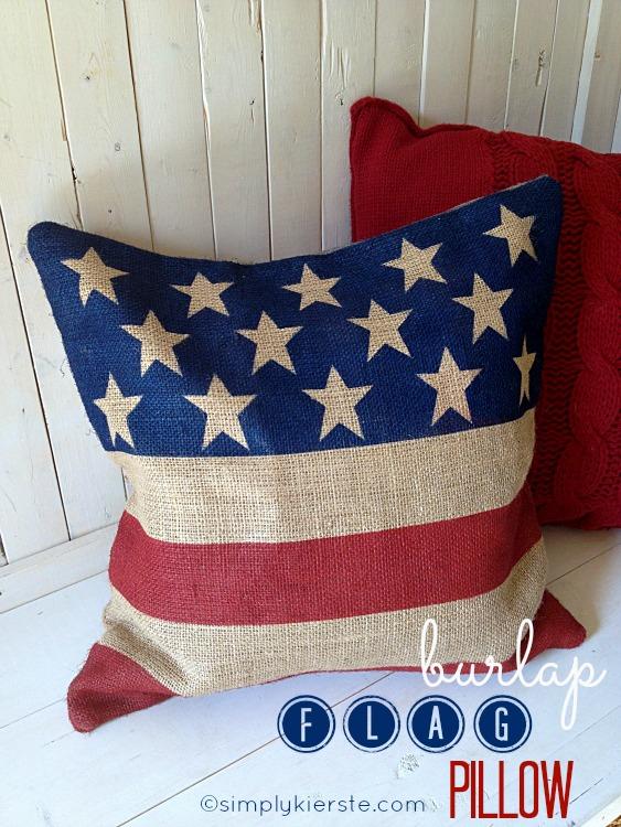 Burlap Flag Pillow | oldsaltfarm.com