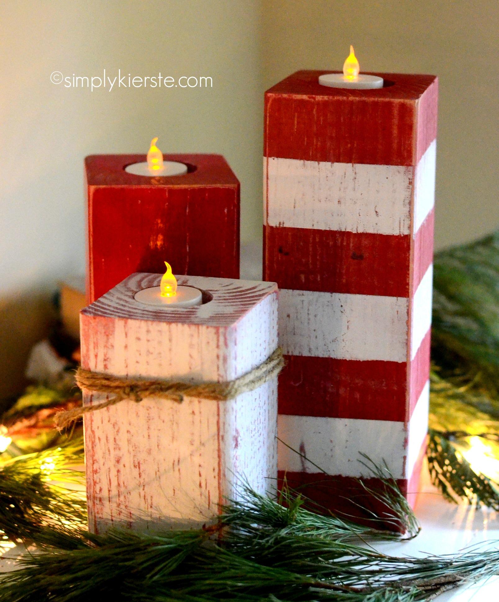 4x4 Wood Crafts Peppermint Striped Candlesticks Simplykierstecom