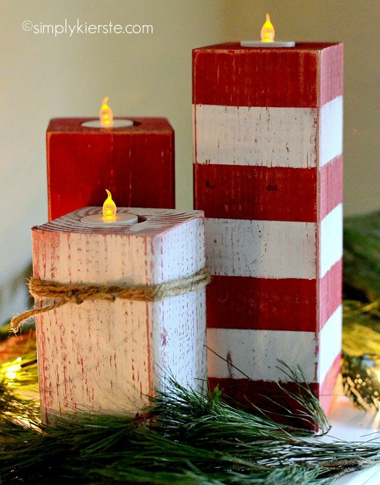 peppermint striped candlesticks  | simplykierste.com