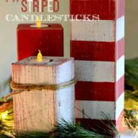 Christmas Peppermint Striped Candlesticks