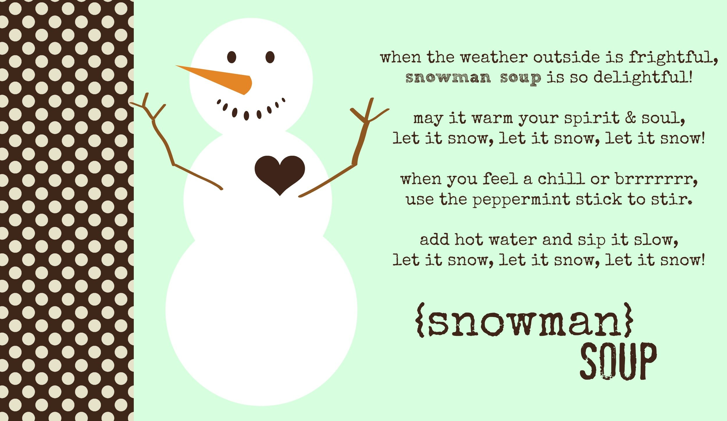 poem snowman soup printable bag tag