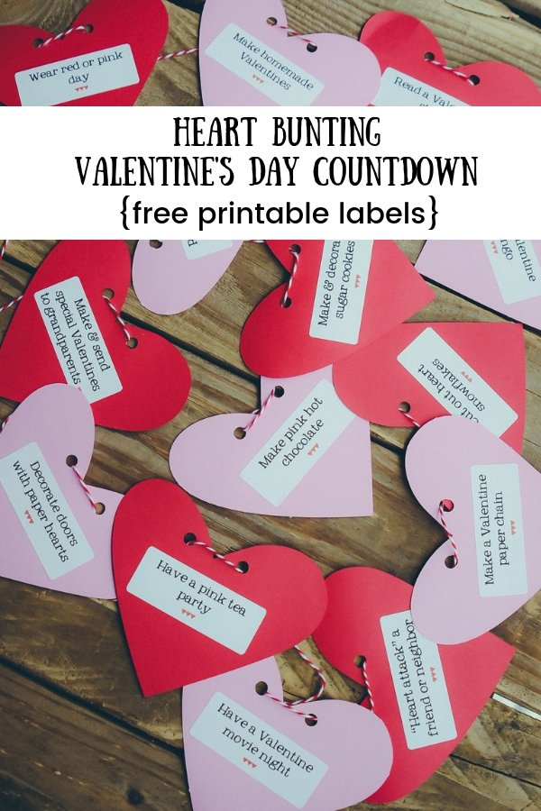 Heart Bunting Valentine's Day Countdown