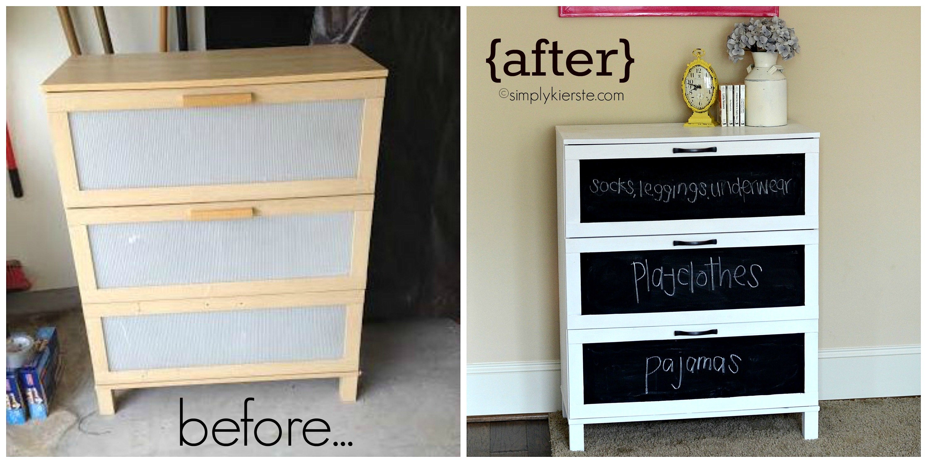 Before After Laminate Dresser Makeover