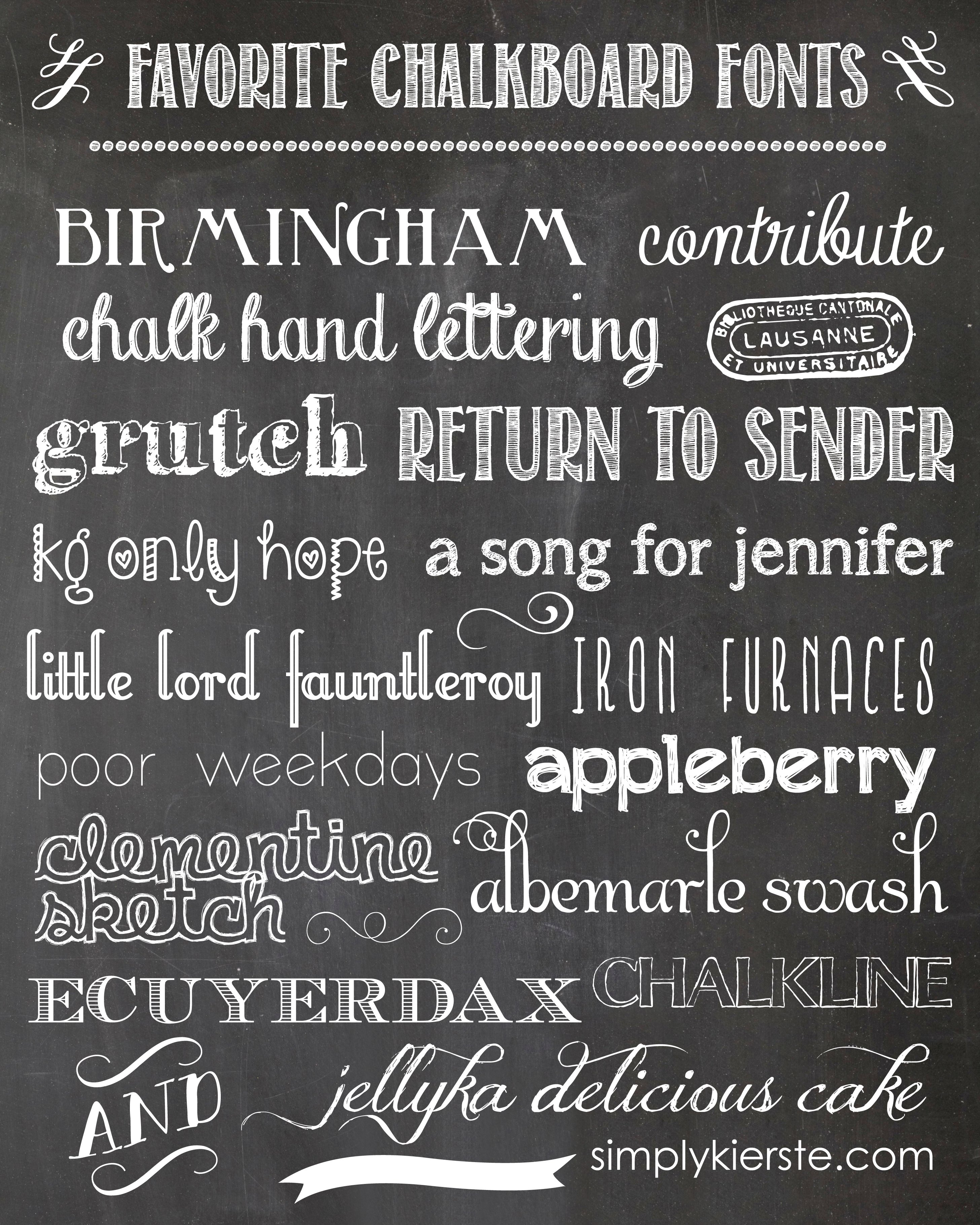 Favorite chalkboard fonts Chalkboard typography