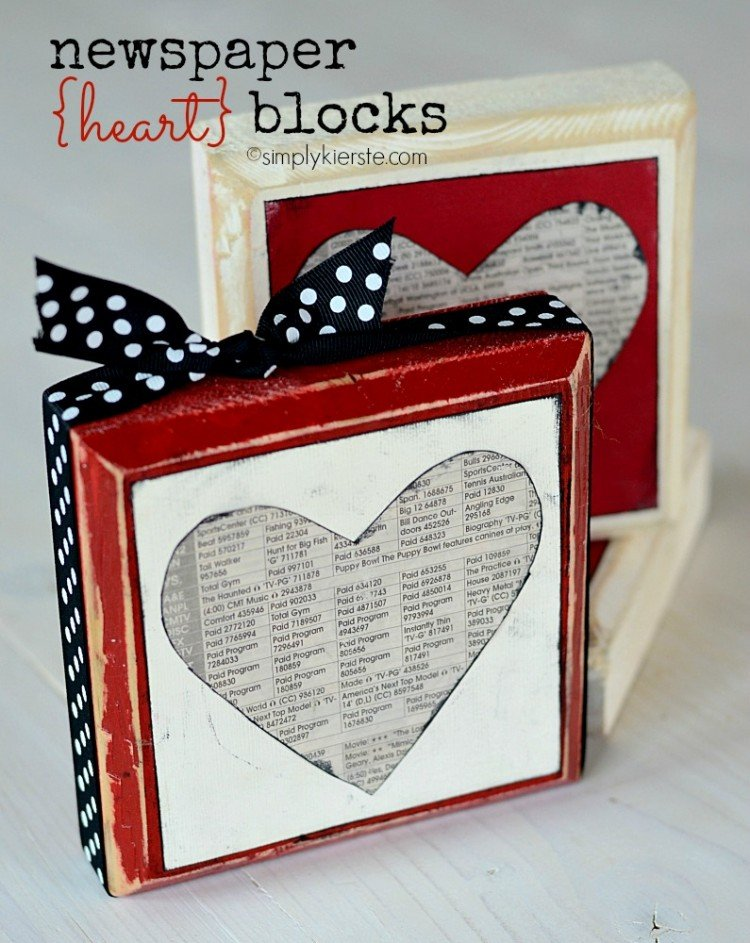 newspaper heart blocks | oldsaltfarm.com