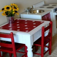 Drab to fab play kitchen table!