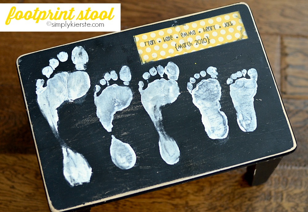 This footprint stool is the perfect gift for any parent or grandparent
