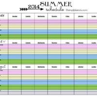 2014 Summer Schedule {FREE PRINTABLE}