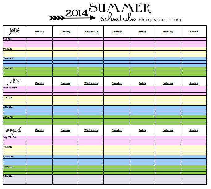 2014 Summer Schedule | FREE PRINTABLE | simplykierste.com