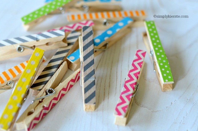 Washi Tape Clothespins | oldsaltfarm.com