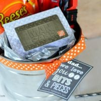 """Home Depot Gift Card + Drill Bits + Reeses Pieces = """"We Love You to Bits & Pieces"""" Father's Day Gift (FREE PRINTABLE) 